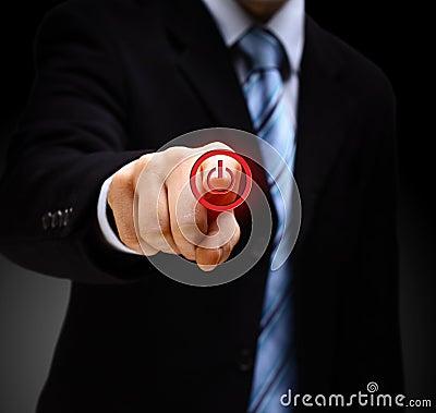 Hand press power button