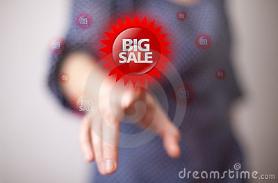 Hand pressing BIG SALE button