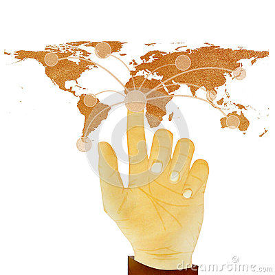 Hand pressing digital button on world map on whit