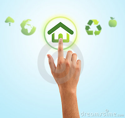 Free Hand Pressing Home Symbol From Eco Green Icons Royalty Free Stock Image - 16211926