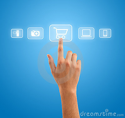 Hand pressing shopping cart symbol