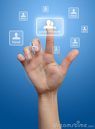 Hand pressing Social network button