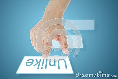Hand pressing touchscreen Unlike