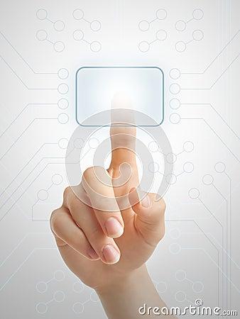 Hand pressing virtual button