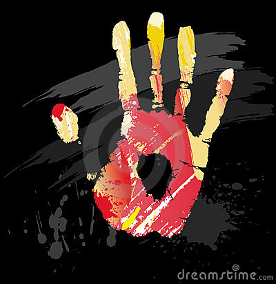 Hand print from color splashes and line brushes
