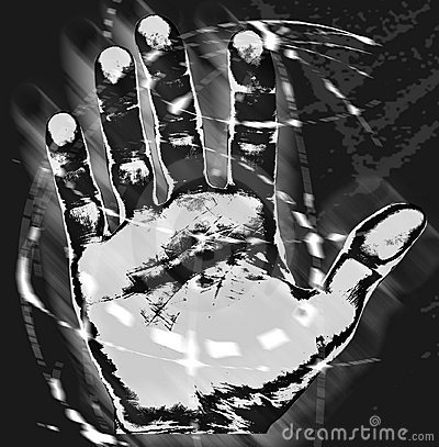 Hand print in front of world