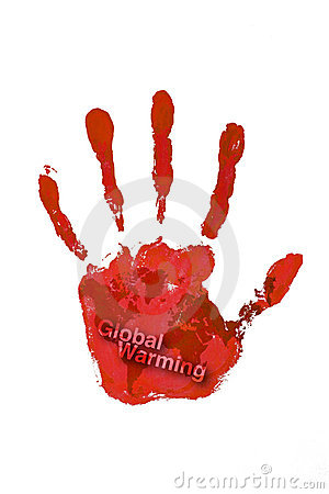 Hand print red color with world map