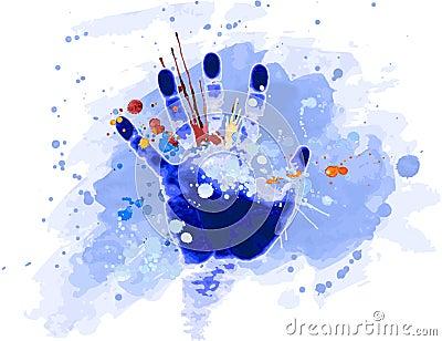 Hand print & watercolour