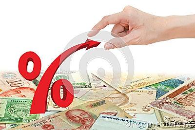 Hand pull red percentage symbol
