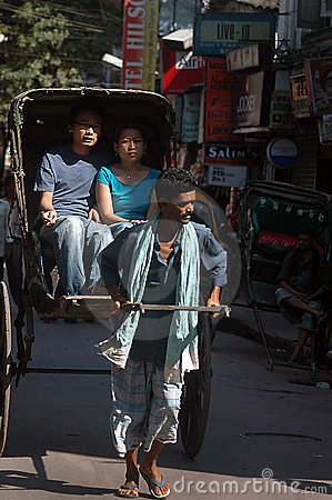 Hand pulled rickshaw Editorial Stock Photo