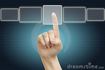 Hand Pushing On Button Stock Photos - Image: 24002183