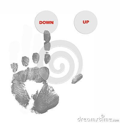 Hand pushing down button