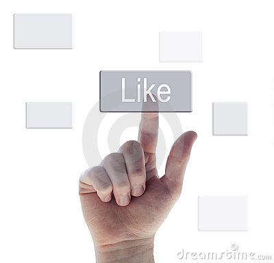 Hand pushing the like button