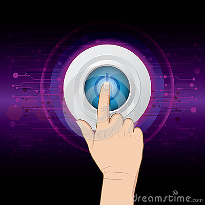 Hand pushing power button