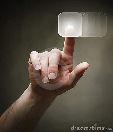 Free Hand Pushing The Button Stock Photo - 19238460