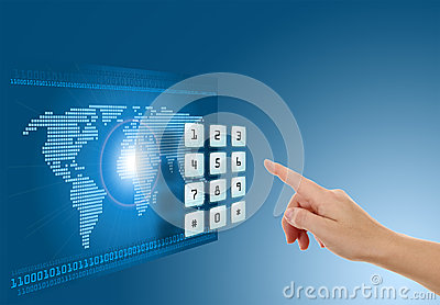 Hand pushing touch screen button