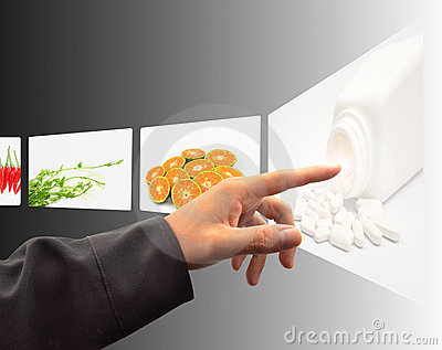 Hand pushing a touch screen interface