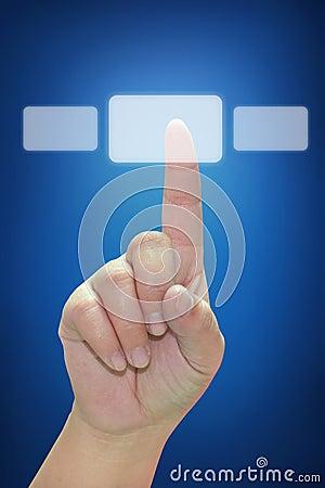 Hand pushing touchscreen button