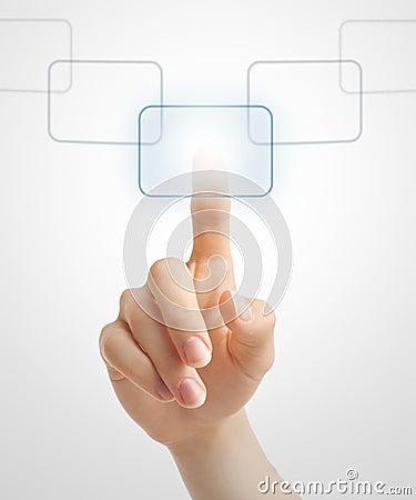 Hand pushing virtual button