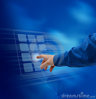 Hand pushing virtual keypad