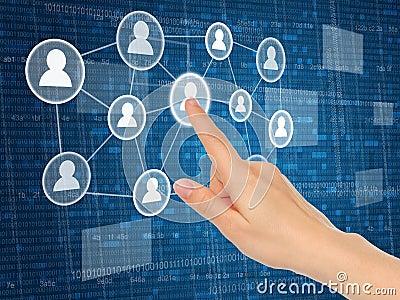 Hand pushing virtual social media icon