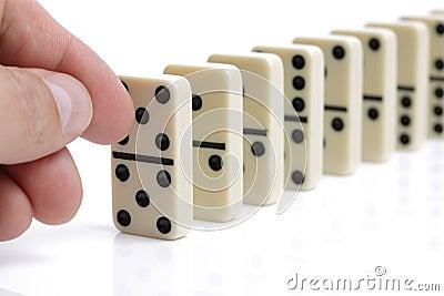 Falling White Dominoes