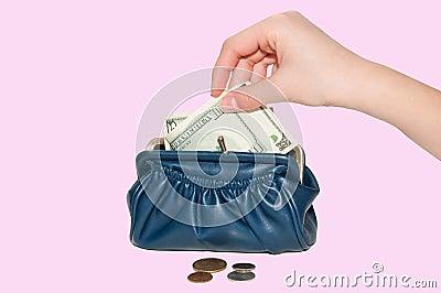 Hand puts money