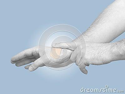 Hand putting Adhesive Bandage isolated on white