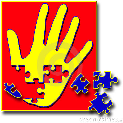 Hand Puzzle With Pieces Missing