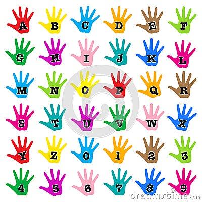 Hand rainbow alphabet