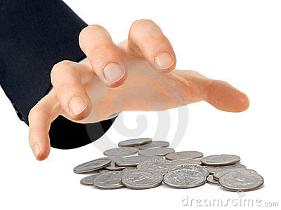Hand reaching for coins