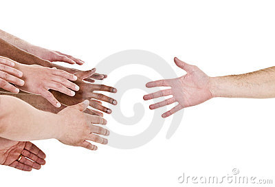 Hand reaching for help