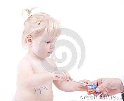 Hand reaching paint