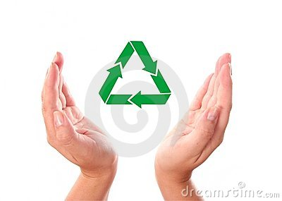 Hand with recycle icon