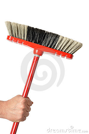 Hand with Red Broom