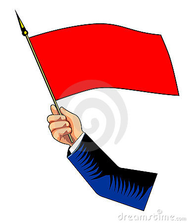 Hand with red flag