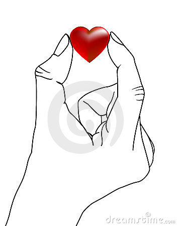 Hand with red love heart