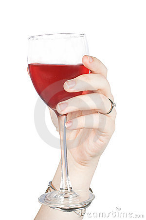 Hand with red wine glass