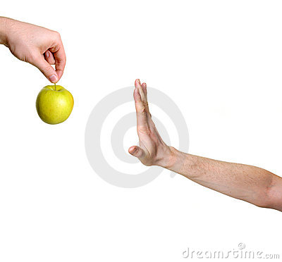Free Hand Rejecting Apple Stock Photo - 9945430