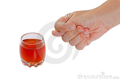 Hand rejects alcohol. Stop drinking.