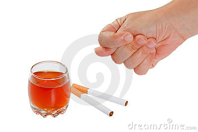 Hand rejects cigarette and alcohol. Stop smoking a