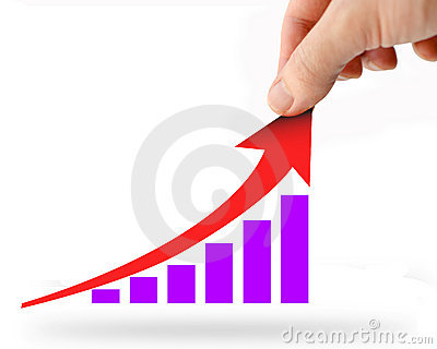 Hand rising red business graph