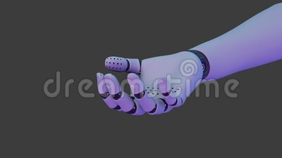 Hand of robot, like human, unclenches showing palm stock video footage