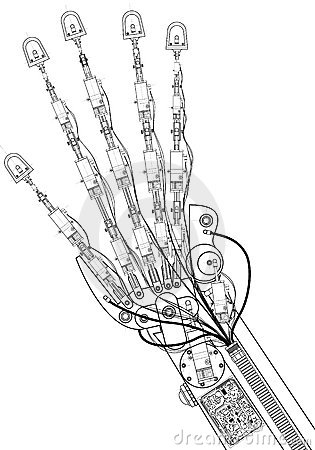 Hand robot  technical drawing