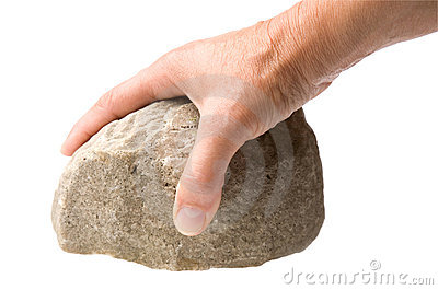 Hand with rock