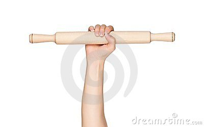 Hand with rolling pin