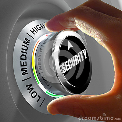 Free Hand Rotating A Button And Selecting The Level Of Security. Royalty Free Stock Photo - 55045065