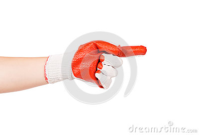 Hand in rubber glove showing one.