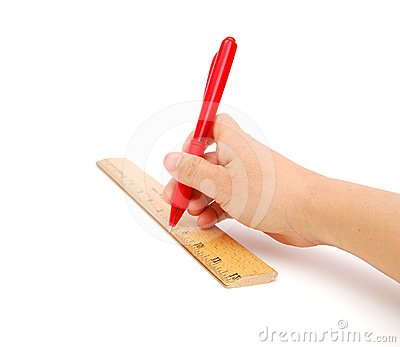 Hand with ruler and pen