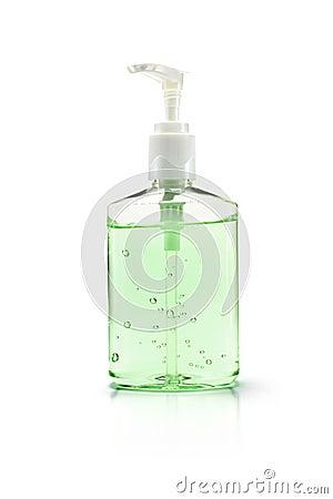Hand sanitizer bottle on white